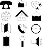 Black and white line technology icon set Stock Photo