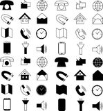 Black and white line technology web icon set Royalty Free Stock Image