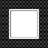 Black and White Line and Zigzag Patterned Background with Frame Stock Photos