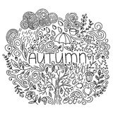 Black and white linear autumn seasonal postcard. Thin line doodle fall card with word autumn, floral element, rain,cloud,tree fall vector illustration