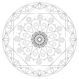 Black and white linear mandala Stock Images