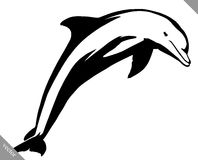 Black and white linear paint draw dolphin illustration Royalty Free Stock Photo