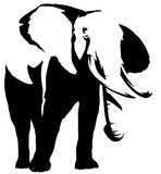 Black and white linear paint draw elephant illustration Stock Images