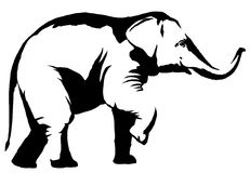 Black and white linear paint draw elephant illustration Stock Image