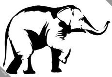 Black and white linear paint draw elephant illustration Royalty Free Stock Photos