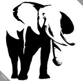 Black and white linear paint draw elephant illustration Royalty Free Stock Images