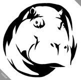 Black and white linear paint draw Hippo vector illustration Royalty Free Stock Photography