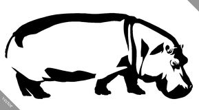 Black and white linear paint draw Hippo vector illustration Stock Image