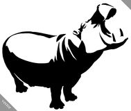 Black and white linear paint draw Hippo vector illustration Royalty Free Stock Image