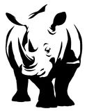 Black and white linear paint draw rhino illustration Royalty Free Stock Photos