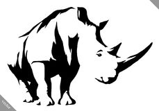 Black and white linear paint draw rhino vector illustration Stock Photography