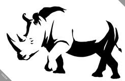 Black and white linear paint draw rhino vector illustration Stock Photos