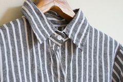 Black and white linen shirt. Hanging black and white linen shirt Stock Photos