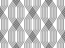 Black and white lines geometric art deco style simple seamless pattern, vector. Background vector illustration