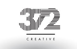 372 Black and White Lines Number Logo Design. Stock Photography