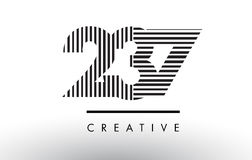 237 Black and White Lines Number Logo Design. 237 Black and White Number Logo Design with Vertical and Horizontal Lines Royalty Free Stock Photo