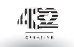 432 Black and White Lines Number Logo Design. 432 Black and White Number Logo Design with Vertical and Horizontal Lines Royalty Free Stock Photography