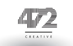 472 Black and White Lines Number Logo Design. 472 Black and White Number Logo Design with Vertical and Horizontal Lines Royalty Free Stock Image