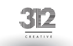 312 Black and White Lines Number Logo Design. 312 Black and White Number Logo Design with Vertical and Horizontal Lines Stock Photos