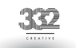 332 Black and White Lines Number Logo Design. 332 Black and White Number Logo Design with Vertical and Horizontal Lines Royalty Free Stock Photography