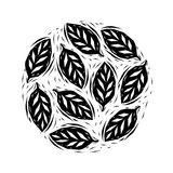 Black and white linocut leaves circle, vector stock illustration