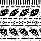 Black and white linocut leaves geometric borders seamless pattern, vector Stock Photos