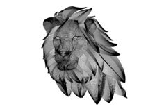 the mesh lion head white vector illustration