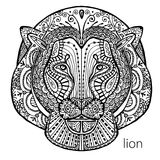 The black and white lion print with ethnic patterns. Coloring book for adults antistress. Art therapy Royalty Free Stock Photos