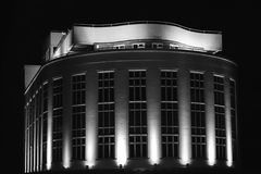 Black And White Lit Building Royalty Free Stock Photos