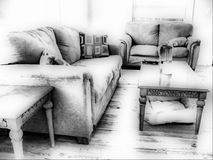 Black and white living room Stock Photo