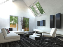 Black and White Living Room Stock Image