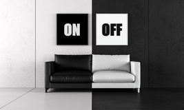 Black and white living room Royalty Free Stock Photos