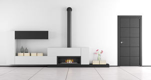 Black and white living room with fireplace Stock Images