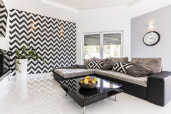 Black and white living room idea Stock Photo