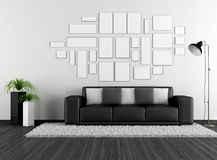 Black and white living room with modern couch and empty frame Royalty Free Stock Photography