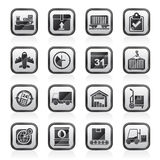 Black an white logistic and Shipping icons Royalty Free Stock Photo