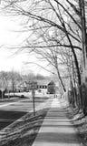 Black white lonely path walk Stock Image