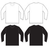 Black White Long Sleeve T-Shirt Design Template Stock Photos