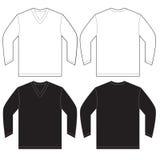 Black White Long Sleeve V-Neck Shirt Template. Vector illustration of black and white long sleeved v-neck shirt, isolated front and back design template for men stock illustration