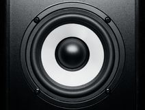 Black and white loudspeaker music sound, close up. Black and white loudspeaker music sound, closeup royalty free stock photo