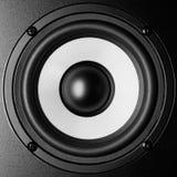 Black and white loudspeaker music sound, close up. Black and white loudspeaker music sound, closeup photo royalty free stock photo