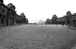 Black and White Louvre Museum in Paris France royalty free stock images