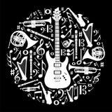 Black and white love for music background stock illustration