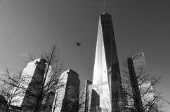 Black and white low-angle view of One World Trade Centre, New York stock photos
