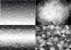 Black and white low poly backgrounds, vector set Stock Photo