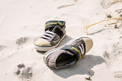 Black and White Low Top Sneakers Stock Photography