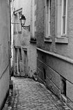 Black and White Luxembourg Streetscape. One of the narrow cobble stone lanes in the old city of Luxembourg taken in high contrast black and white royalty free stock photo