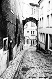 Black and White Luxembourg Streetscape. One of the narrow cobble stone lanes in the old city of Luxembourg taken in high contrast black and white stock photos