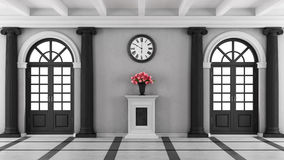Black and white luxury home entrance. With two windows and pedestal with flowers - 3D Rendering Stock Photo