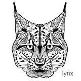 The black and white lynx print with ethnic patterns. Coloring book for adults antistress. Adult coloring Stock Photos